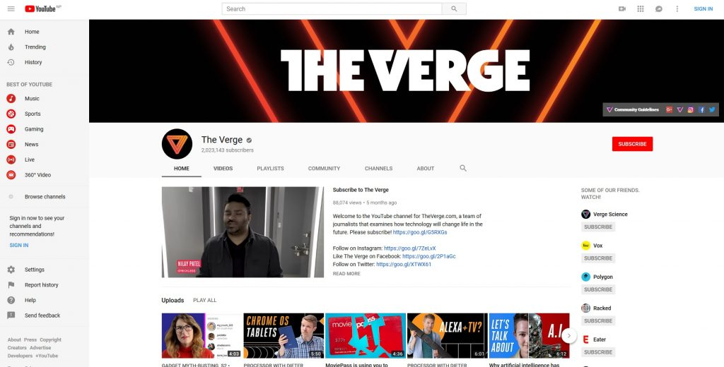 Top 10 Tech YouTubers - The Verge YouTube